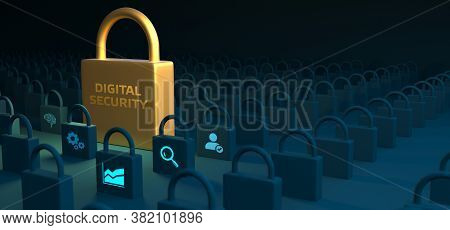 Cyber Security Data Protection Business Technology Privacy Concept. Digital Security. 3d Illustratio