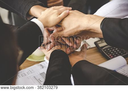 Teamwork Together Concept. Group Of Diversity People Thumb Up Team Success Greeting Power Of Tag Tea