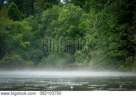 Fog On The Pond Between Summer Storms At Crowder County Park In Apex, North Carolina.