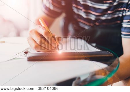 Closeup People Using Fountain Pen Sign Contract, Writing Paper Survey Document Or Fill Out The Quest