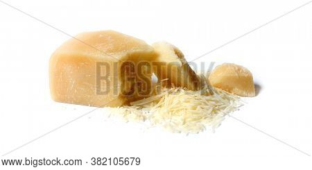 Parmesan. Piece of cheese on white background. Shredded Parmesan cheese