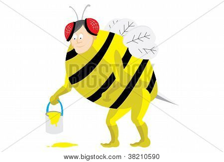 A man wearing bee costume. vector file editable poster