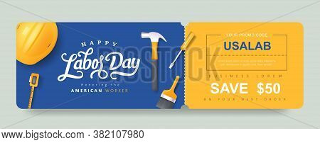 Usa Labor Day Gift Coupon Banner Background