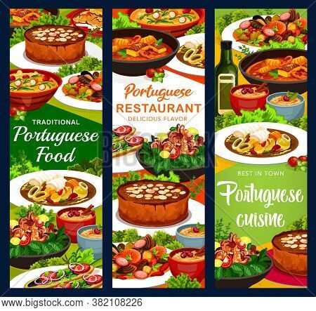 Portugal Meals Vector Banners Rice Pudding, Turkish Mackerel Sandwich And Calms In Cataplana, Vintag