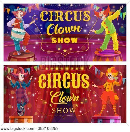 Chapiteau Circus Clown Entertainment Show. Whiteface Clowns Characters With False Nose, Bizarre Hair