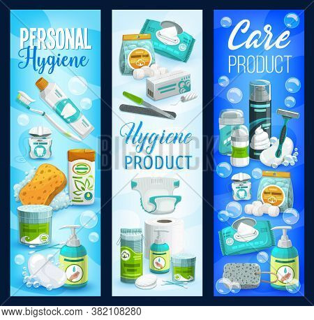Hygiene And Care Products Banners. Vector Soap, Toilet Paper And Shampoo, Brush, Toothpaste And Clea