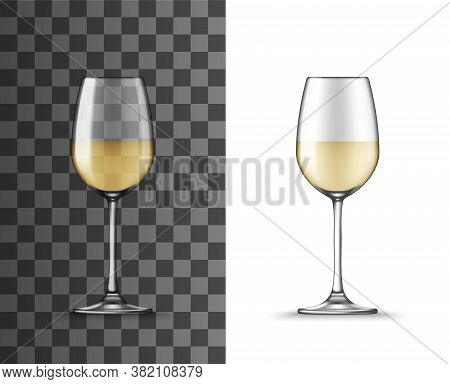 Wine Glass, White Wine Transparent Isolated Cup, Vector Clear Realistic Wineglass, Alcohol Drink Gob