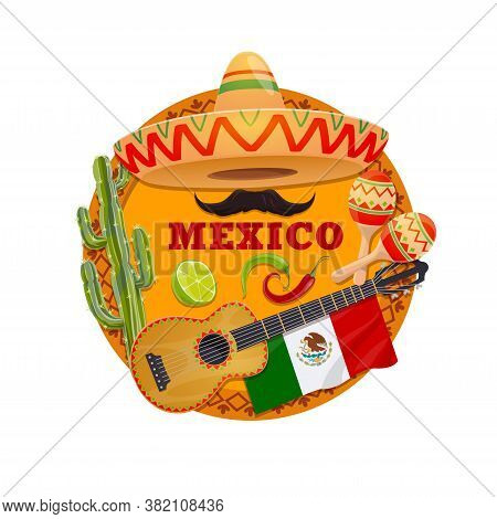 Mexico Vector Design With Mexican Sombrero Hat, Guitar And Maracas, Chilli Or Jalapeno Peppers, Cact