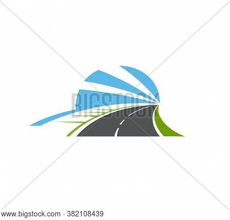 Highway, Road Isolated Vector Pathway Icon. Two Lane Curve Asphalt Speedway With Sidewalk, Green Fie