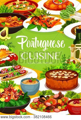 Portuguese Cuisine Vector Fish Stew, Dumplings With Meat And Caldeirada, Rice Pudding And Turkish Ma