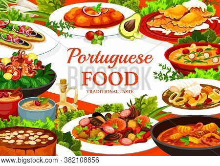Portugal Cuisine Vector Caldy Verde Soup, Fish Stew And Dumplings With Meat. Turkish Mackerel Sandwi
