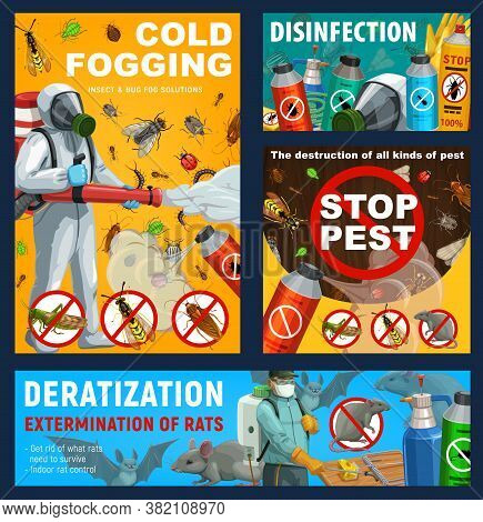 Pest Control Vector Posters. Disinfestation And Deratization With Cold Fogging, Insect Control Sanit
