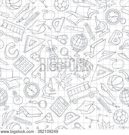 Back To School. Seamless Pattern With Hand Drawn School Supplies And Subjects Related To Education T