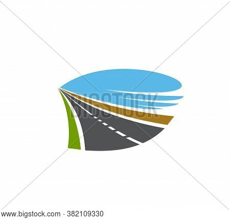 Road, Pathway Or Highway Isolated Vector Icon. Transport Driveway, Paved Two Lane Road Disappearing