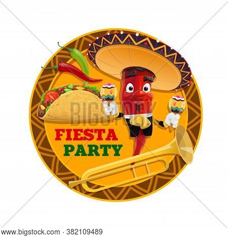Mexican Fiesta Party Vector Design Of Red Chilli Cartoon Character, Sombrero Hat And Maracas, Corn T
