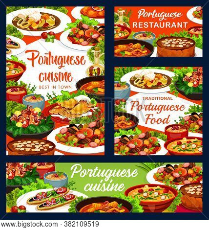 Portuguese Cuisine Vector Fish Stew, Dumplings With Meat And Caldeirada. Rice Pudding, Turkish Macke