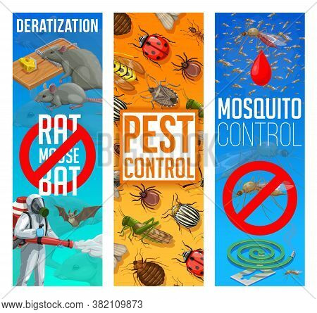 Pest Control, Disinfestation And Deratization Vector Banners. Sanitary Service, Domestic Pest Contro