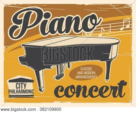 Piano Concert Music Poster, Classic Music Live Festival, Vector Fortepiano Philharmonic Symphony. Pi