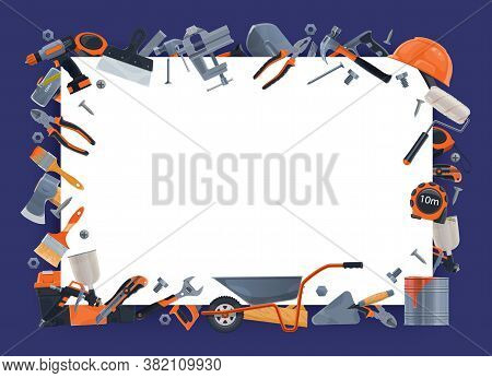 Building Equipment, Construction Tools, Repair And Carpentry Hardware, Vector Blank Note. Woodwork A