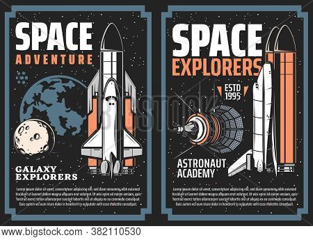 Space Exploration Adventure Retro Vector Posters. Space Shuttle Orbiter With Rocket Boosters, Planet