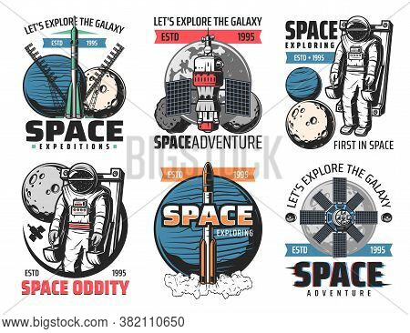 Space Exploring, Astronauts Mission Icons. Rocket Heavy Lift Launch Vehicle, Astronaut On Manned Man