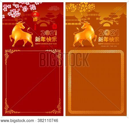 Banners Set For Chinese New Year 2021 With Golden Figurine Of Ox, Zodiac Symbol Of 2021 Year, Bloomi