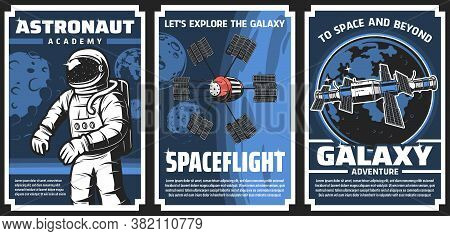 Space Explore, Astronaut Academy Retro Vector Posters. Cosmos Research, Galaxy Expedition Adventure