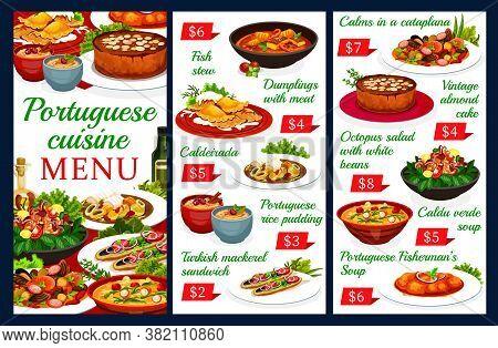 Portuguese Vector Menu Template Dumplings With Meat, Caldeirada And Rice Pudding. Turkish Mackerel S