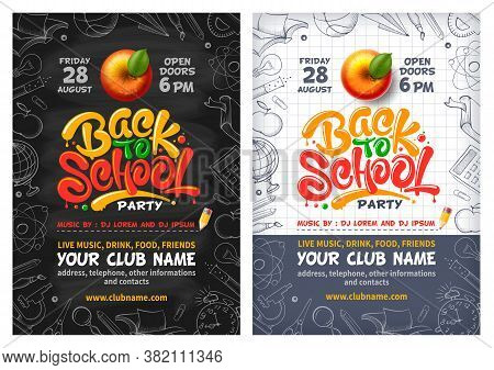 Back To School Party Posters With Red Apple And Lettering Back To School. Handwritten School Subject