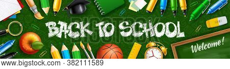 Back To School Horizontal Banner With School Stationery And Supplies. Lettering Back To School Hand