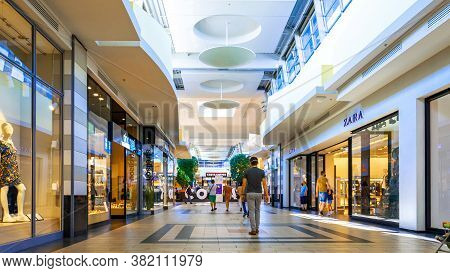 Katowice. Poland 8 August 2020. Young People Shopping Mall In Silesia City Center Katowice. Interior