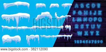 Winter Blue Background. Icy Snow Caps. With Neon Font. The Vector Contains Snow On A Blue Vector Bac