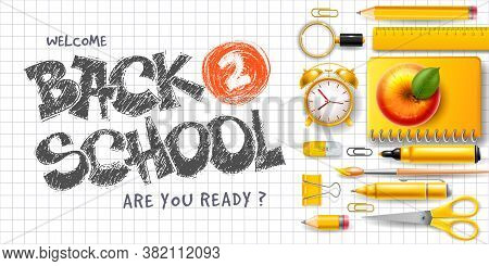 Back To School Horizontal Advertising Banner With Flat Lay Design. School Stationery And Supplies, S