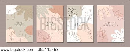 Set Of Abstract Creative Artistic Templates With Nature Concept. Universal Cover Designs For Annual