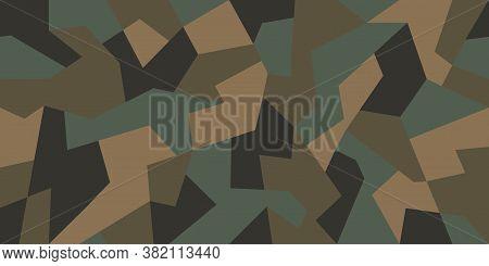 Vector Geometric Camouflage Seamless Pattern. Khaki Design Style For T-shirt. Military Texture Debri