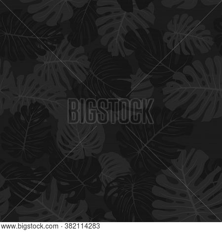 Camouflage Monstera Leaves, Seamless Tropical Pattern. Black Branches And Foliage. Exotic Camo Backg