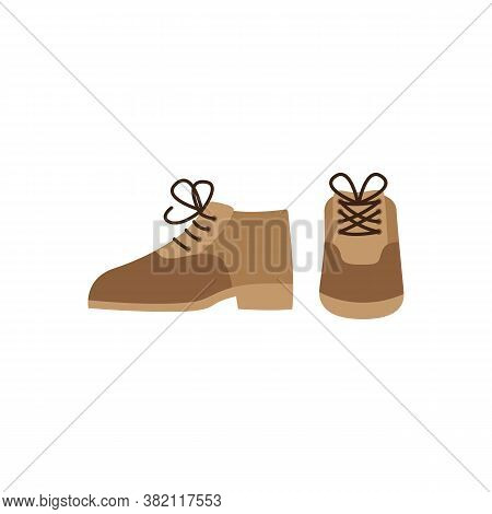 Front View Of Men Elegant Shoes With Shoelace Flat Vector Illustration Isolated.