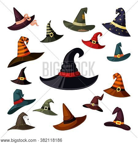 Witch Hats Colored Set. Wizard And Magicians Caps Masquerade Elements Halloween Traditional Fantasy