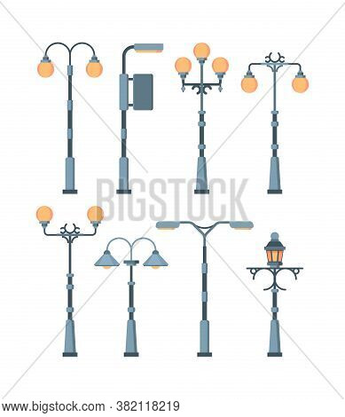 Street Lights Set. Traditionally And Retro City Lighting Lamps Antique Vintage Designs High Metal St
