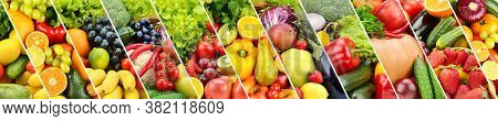 Panoramic photo fruits and vegetables separated by slanted lines