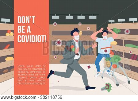 Dont Be A Covidiot Banner Flat Vector Template. Covid Pandemic Brochure, Poster Concept Design With