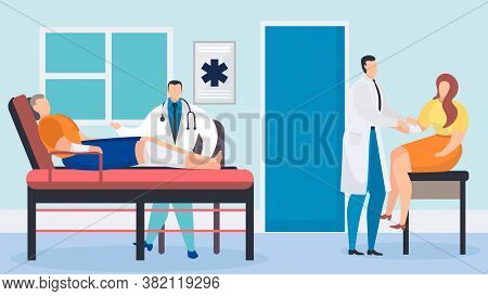 Doctor With Patient In Hospital Vector Illustration. Medical Injury Care, Cartoon Clinic Medicine He