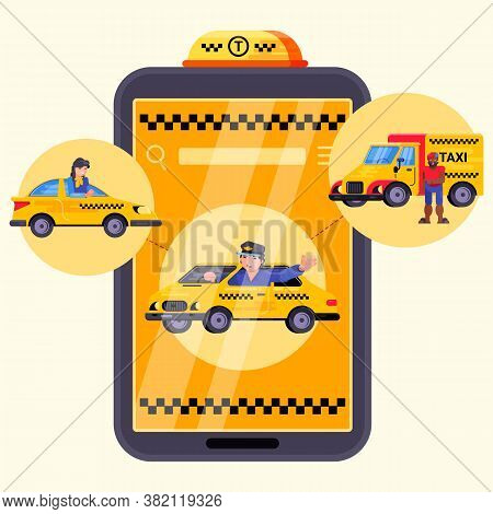 App For City Car Mobile Taxi Service, Vector Illustration. Driver Near Cab In Application, Online Or