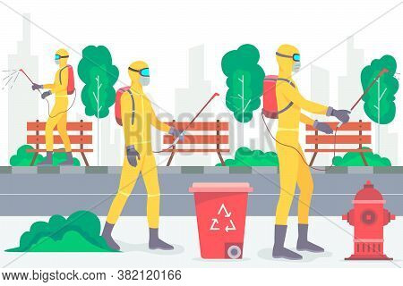 Health Workers Spray Disinfectant. Vector Illustration. Graphic Design Element.