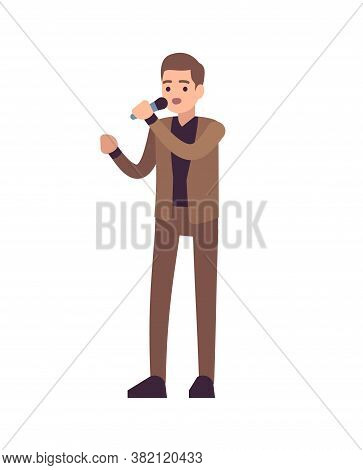 Man Singer. Vocalists Musical Performance, Boy Stands In Brown Suit With Microphone And Sings Song,