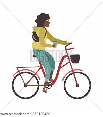Woman Riding Bicycle. Simple Young Character Cyclist Girl Rides On Bike With Glass Of Coffee. Outdoo