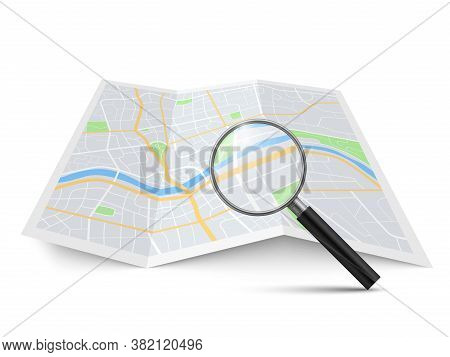 Realistic Magnifying Glass And Map. Magnification Zoom Street Search Urban Landscape, Searching Loca