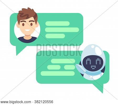 Chatbot Character. Online Helper Chatting With Man, Virtual Robot Answers Questions By Customer, Dev