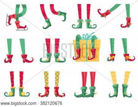 Christmas Elf Feet. Santa Claus Helpers, Cute Elves Legs In Boots And Striped Socks. Dwarf Leg And G