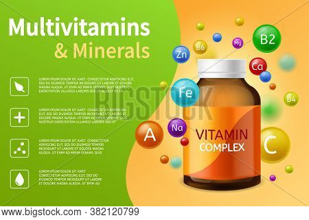 Vitamin Complex. Realistic Plastic Bottle With Multivitamins, Minerals And Colorful Flying Bubbles,